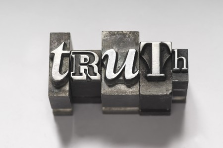 The word Truth in letterpress type