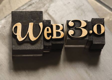 The phrase Web 3.0 in letterpress type