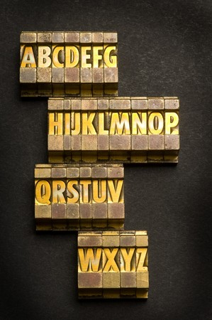 c r t: Alphabet done in letterpress type