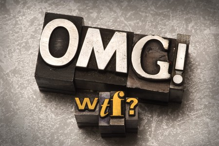 The phrase OMG WTF done in letterpress type Stock Photo - 4065889