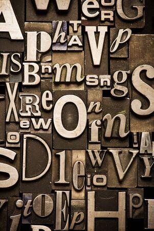A randon arrangement of letterpress letters Banco de Imagens