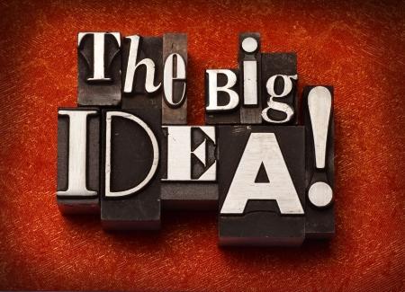 The phrase The Big Idea! done in letterpress type Archivio Fotografico
