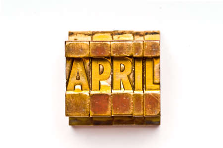 The month of April done in vintage letterpress type photo
