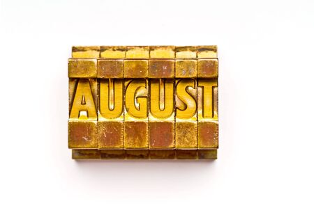 The month of August done in vintage letterpress type
