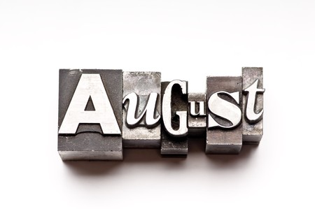 The month of August done in vintage letterpress type photo
