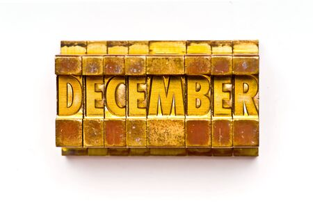 The month of December done in vintage letterpress type Stock Photo - 4066011