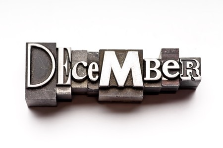 The month of December done in vintage letterpress type photo