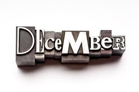 letterpress  type: The month of December done in vintage letterpress type