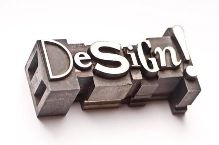 The phrase Design done in vintage letterpress type