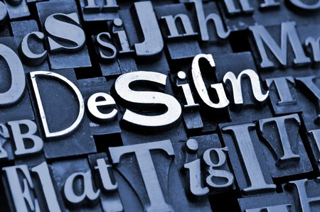 letterpress  type: The phrase Design done in vintage letterpress type