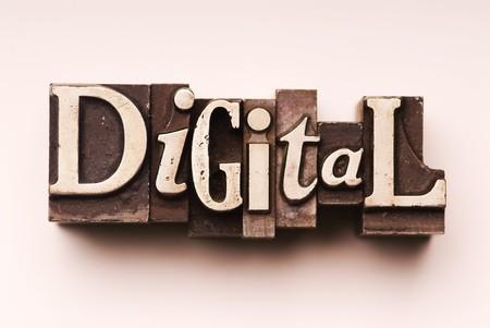 The word Digital done in vintage letterpress type photo