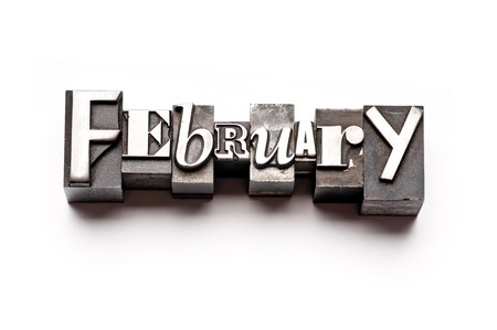 The month of February done in vintage letterpress type Stock Photo