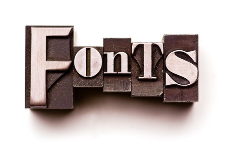 letterpress letters: The word Fonts done in vintage letterpress type
