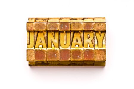 almanac: The Month of January done in vintage letterpress type