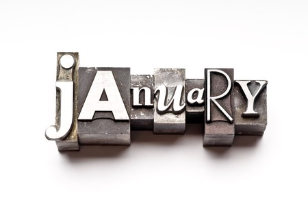 The month of January done in vintage letterpress type
