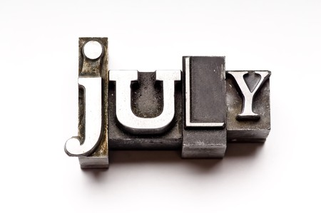 The month of July done in vintage letterpress type