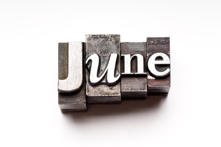 The month of June done in vintage letterpress type Stock Photo