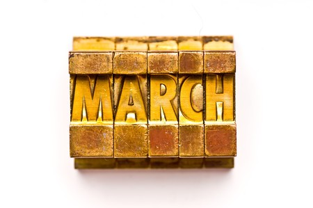 The Month March done in vintage letterpress type Stock Photo - 4066012