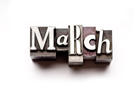 The month of March done in vintage letterpress type Stock Photo