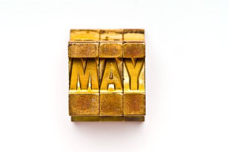 The Month of May done in vintage letterpress type Stock Photo