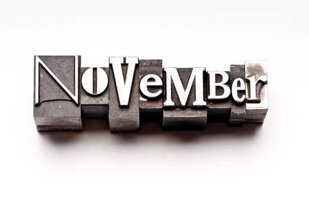 The month of November done in vintage letterpress type Stock Photo