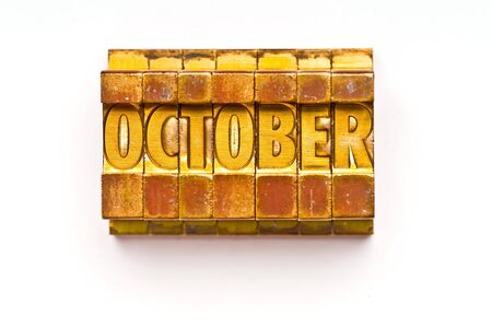 The Month of October done in vintage letterpress type
