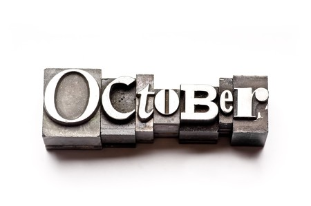 The month of October done in vintage letterpress type photo