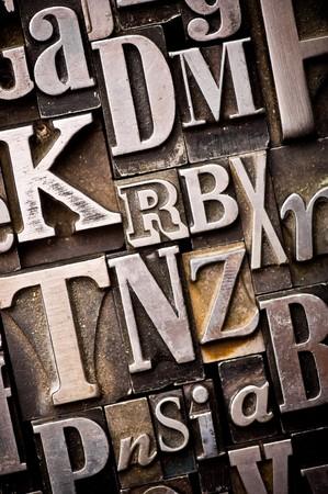 A randon arrangement of letterpress letters. Part of a series of letterpress backgrounds Banco de Imagens
