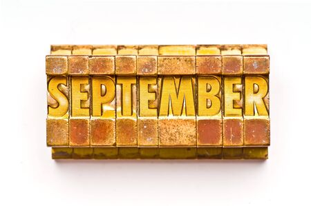 The month of September done in letterpress type photo