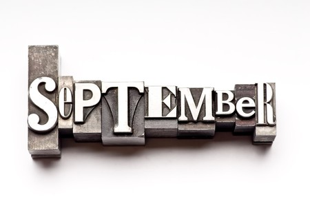 The month of September done in letterpress type 版權商用圖片