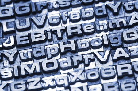 A letterpress type background. Selective focus. Hand tinted for an unique look Stock Photo - 4066043