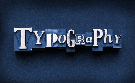 The word Typography done in letterpress type Stock Photo
