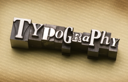 letterpress  type: The word Typography done in letterpress type Stock Photo