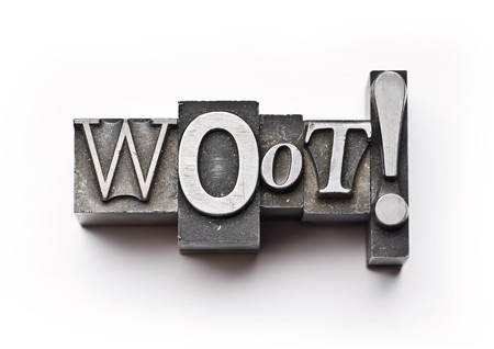 The word Woot done in letterpress type