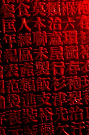 An arrangement of random Chinese type and character symbols, shallow depth of field. Mixed both new and well worn characters.
