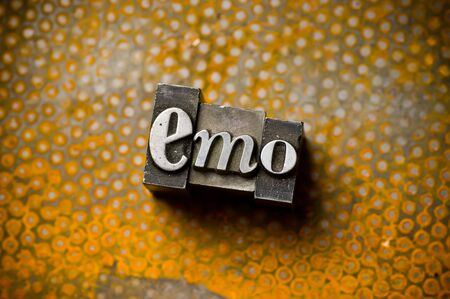 The word Emo photographed using a mix of vintage letterpress characters. Banco de Imagens