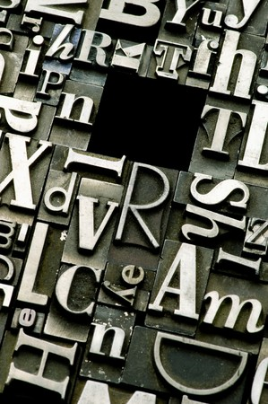 A selection of random letterpress type characters with copy space Stock Photo