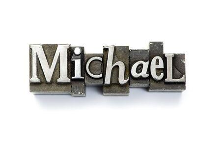 El nombre de Michael letterpress fotografiada utilizando el tipo de cosecha. Foto de archivo - 4137562