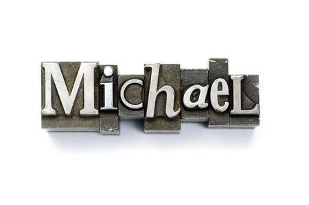 The name Michael photographed using vintage letterpress type.