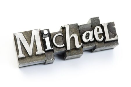 letterpress type: The name Michael photographed using vintage letterpress type.