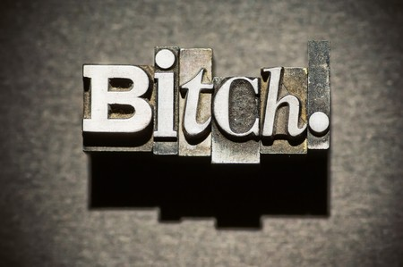 The word Bitch photographed using vintage letterpress type with shallow focus, high-contrast lighting and cross-processed. Stock Photo - 4137588