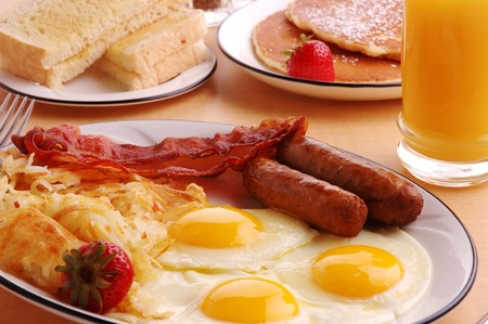 hotcakes: A typical American hearty breakfast Stock Photo