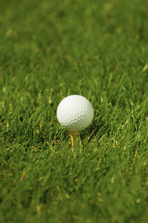 A golf ball on grass ready to be teed off
