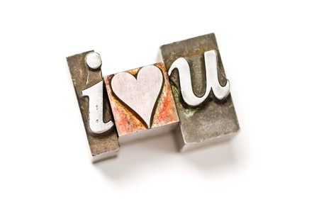 I Love You photographed using vintage letterpress type photo