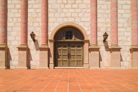 Photo of the entrance doors at the Santa Barbara Mission in Southern California