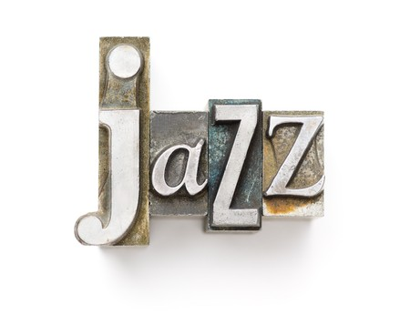 The word Jazz photographed using a mix of vintage letterpress characters. 版權商用圖片