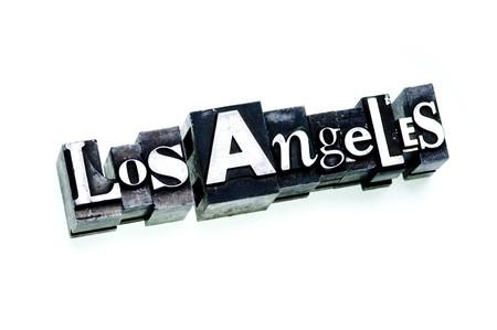 metropolitan: Los Angeles - Metropolitan American city name done in letterpress type, cross processed, narrow focus.