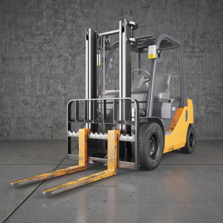 forklift truck: Forklift truck on industrial dirty wall background