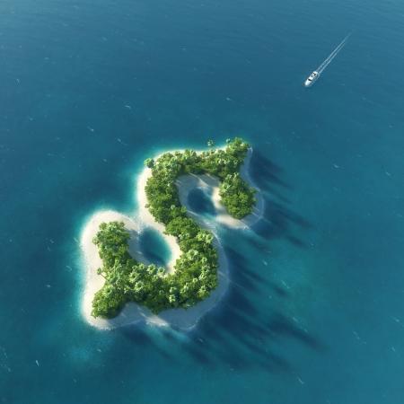 sand dollar: Success way  Tropical island in the form of dollar