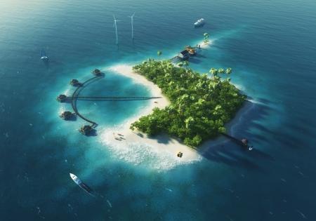 turismo ecologico: Private Island Paradise isla tropical con turbinas de energ�a e�lica y bungalows